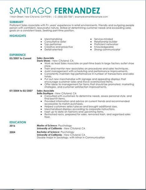 resume sales associate resume objective