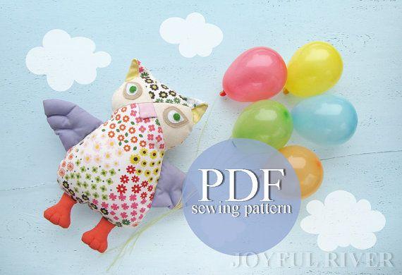 Owl sewing pattern PDF Stuffed toy Softie Nursery by JoyfulRiver, $7.00
