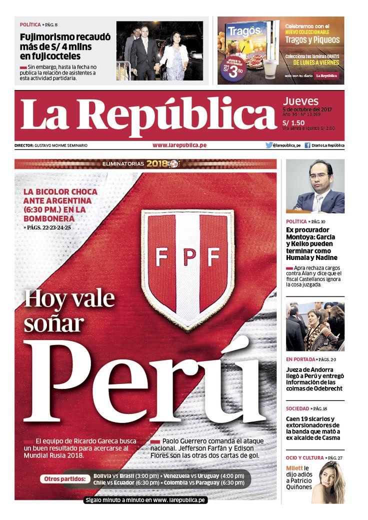 Portada del diario La República. Previo al partido Argentina-Perú por las Eliminatorias al Mundial de Fútbol Rusia 2018 Diseño: Ricardo Cervera
