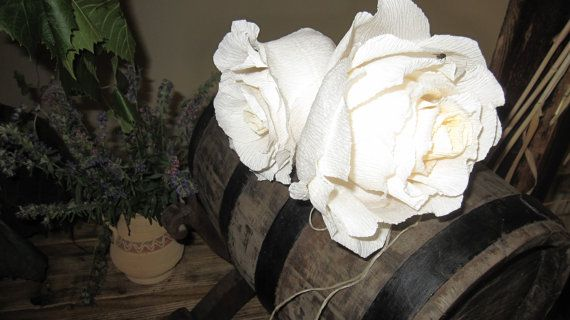 Centerpices Ivory Gigat crepe paper flowers by moniaflowers