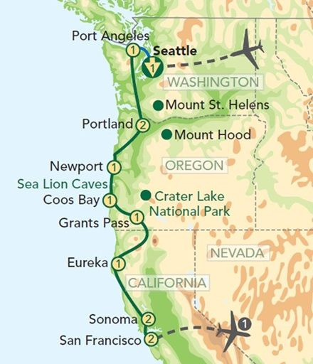 Map Oregon Pacific Coast | Oregon and the Pacific Coast from Seattle to San Francisco