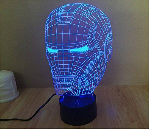 Der Iron Man Helm als 3D Lampe mit optischer Täuschung ist eine tolle Geschenkidee fürs Kinderzimmer (auch als Nachtlicht), Schlafzimmer oder für Bars, Cafes und Restaurants!