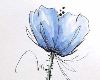 Original Watercolor Red Flower Poppy Art Hand Painted Purple Poppy Flower Art Pen and Ink Watercolor