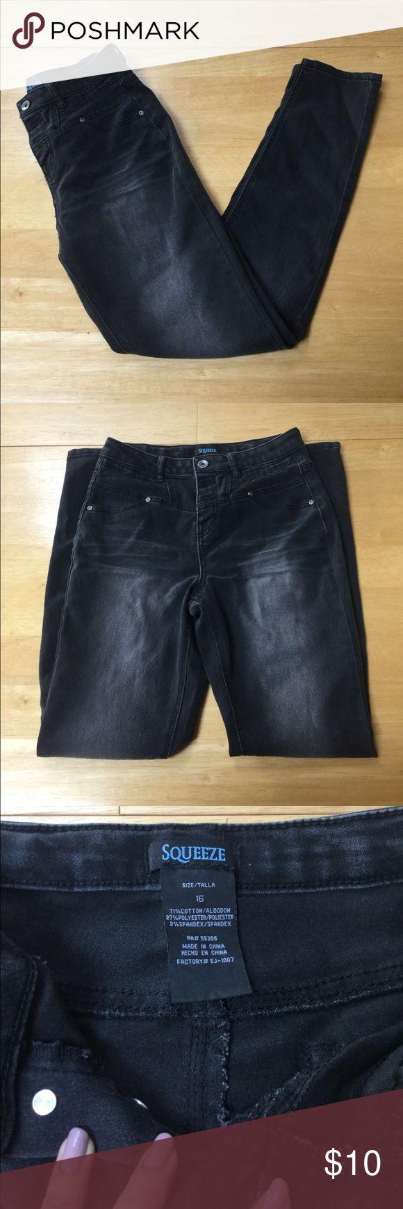 Black Denim Jeggings Description: black denim jeggings w/ button up waist, 71% cotton, 27% polyester, 2% spandex, Girls size 16- can fit into size 2 Jeans