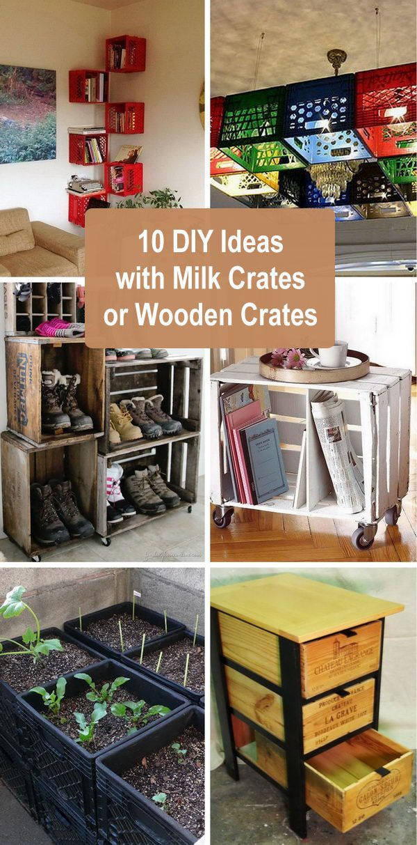 10 DIY Ideas With Milk Crates or Wooden Crates.  – Design Ideas, Crafty happy & a little DIY