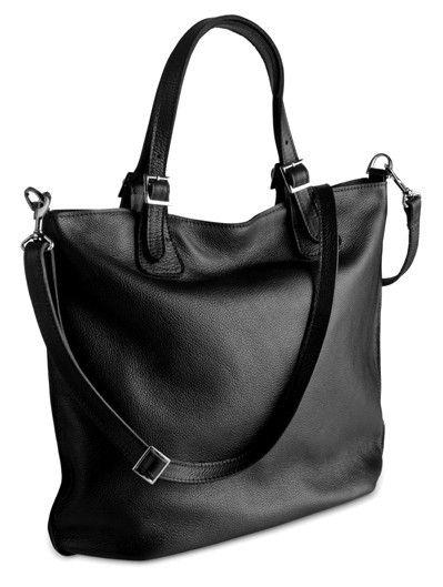 EMMA, duża torba ze skóry naturalnej, czarna w BAGS4JOY na DaWanda.com