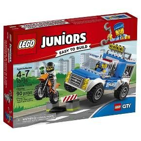 LEGO® Juniors Police Truck Chase 10735:<br>Catch the crook before he gets away! Jump in the Police Truck and chase down the crook, featuring an Easy to Build police truck with jail cell, plus a motorbike, roadblock and two minifigures. Join the LEGO® City police force and catch the crook, featuring Easy to Build models including a police truck with holding cell, roadblock with swinging gate, plus a motorbike for the crook and a jewel element. LEGO Juniors sets are age-...