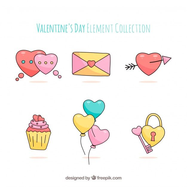 Hand drawn valentine's day element collection #Free #Vector