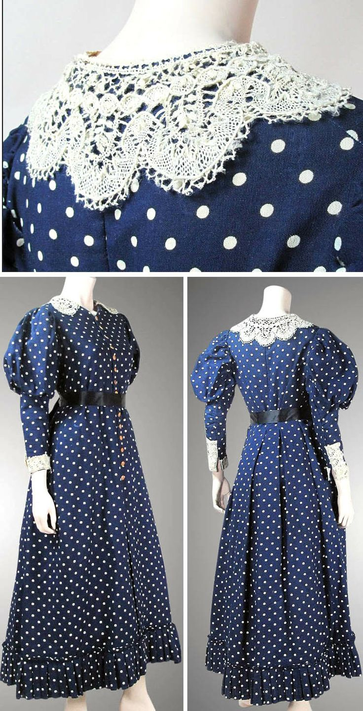 Day dress ca. 1890s. Blue & white polka dot wool with lace collar & cuffs, gigot sleeves, substantial ruffle at hemline, cotton bodice lining and polished cotton skirt lining. Marzilli Vintage/Ruby Lane