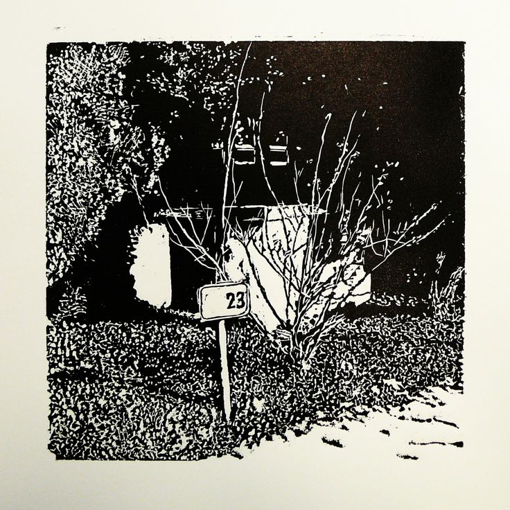 Zlatovská 31  [printmaking, cutting into MDF] #printmaking #woodcut #bunker #art #shelters