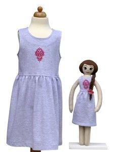 Lalka Lalanna haftowana i  szara sukienka z parzenicą dla dziewczynki