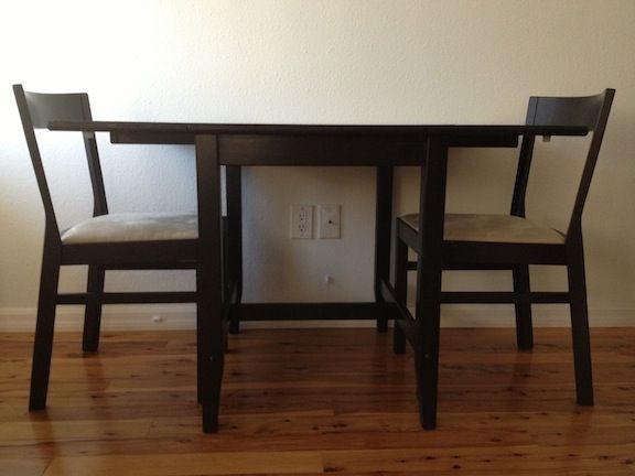 Seattle: Small black Ikea drop leaf table and chairs  $125 - http://furnishlyst.com/listings/1162925