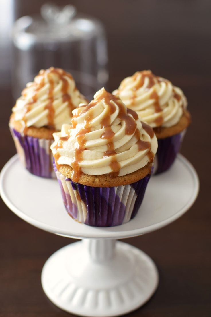 Vegan Butterscotch Cupcakes - over the top! Three recipes in one: eggless brown sugar cupcakes, vanilla dairy-free buttercream, and a quick butterscotch sauce. #ad #dairyfree #vegan