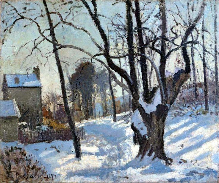 Camille Pissarro (French, Impressionism, 1830-1903): Snowfield at Louveciennes (Névé à Louveciennes), 1872. Oil on canvas, 46 x 55 cm. Museum Folkwang, Essen, Germany.