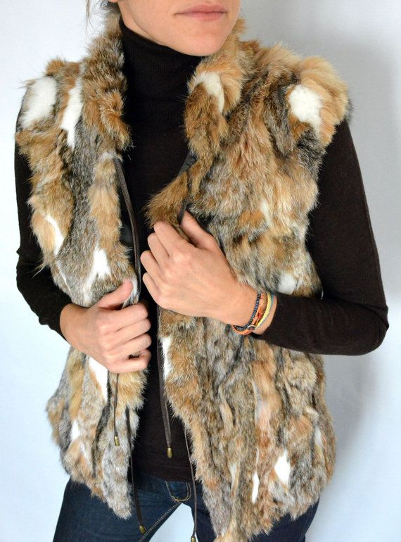 Sleeveless Women's Jacket made with real Lynx fur in by lefushop