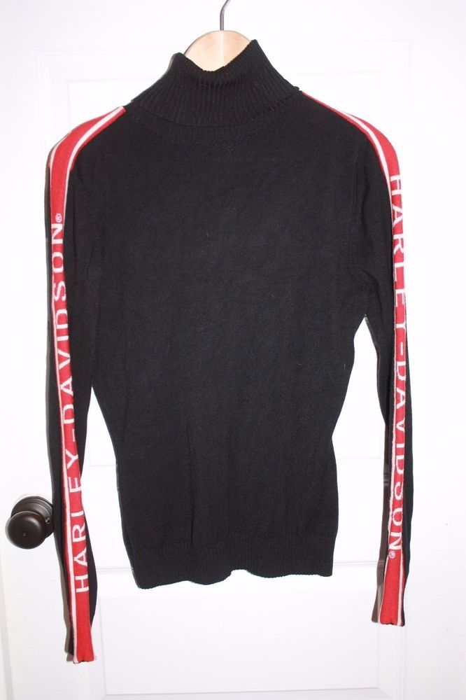 Women's Harley Davidson Turtleneck Sweater - Size M - Black - EUC! #HarleyDavidson #KnitTop