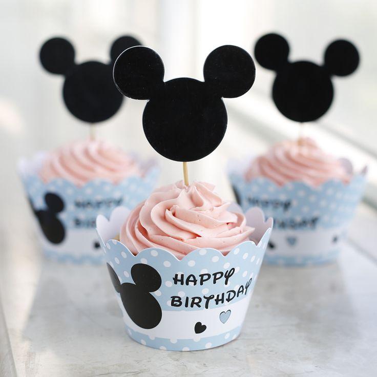 groothandel 120 stuks kinderen jongen baby shower gunsten verjaardagsfeestje levert leuke muis cupcake wrappers taart toppers picks decoraties