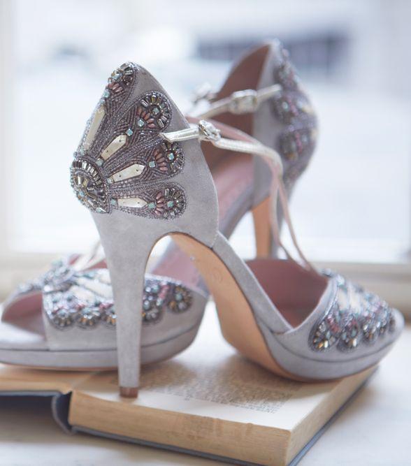 Amara Gift Lists | Emmy London | Bridal Shoe | Weddings | Embellished | Grey Shoe | Francesca