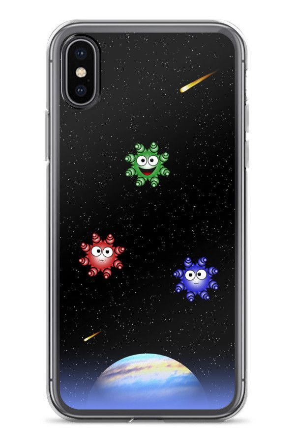 Cute Aliens - iPhone X Case: • Hybrid Thermoplastic Polyurethane (TPU) and Polycarbonate (PC) material • Solid polycarbonate back • Flexible see-through polyurethane sides • Precisely aligned cuts and holes • 0.5 mm raised bezel • Printed in the USA