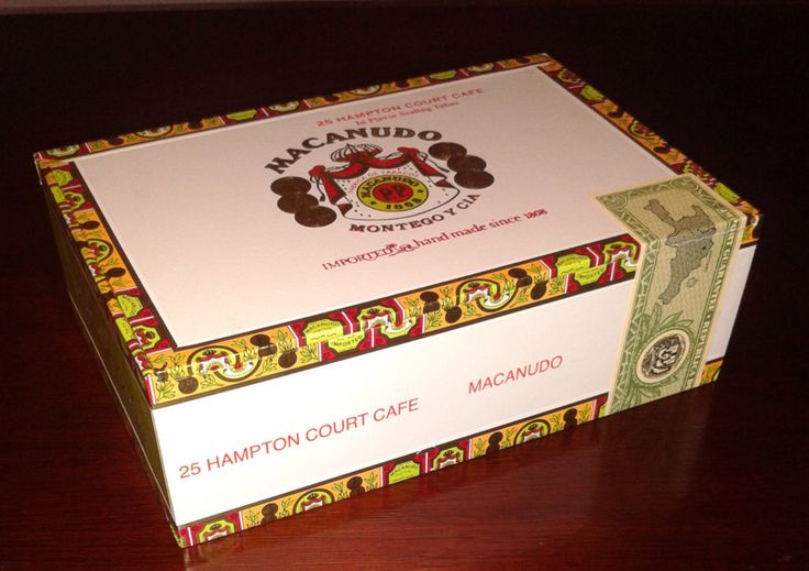 Macanudo Hampton Court Cafe Empty Cigar Box Rectangle Lime Green, Gold and White  Dominican Republic by FamousJane on Etsy