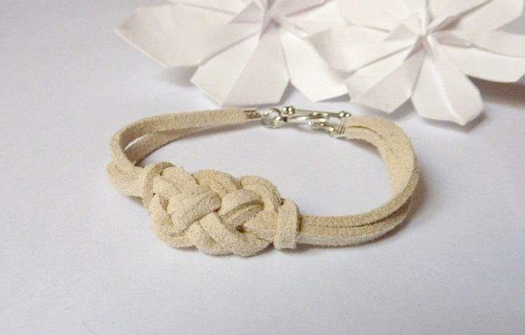 Bracelet Celtique Enfant Daim beige - Noeud de Carrick