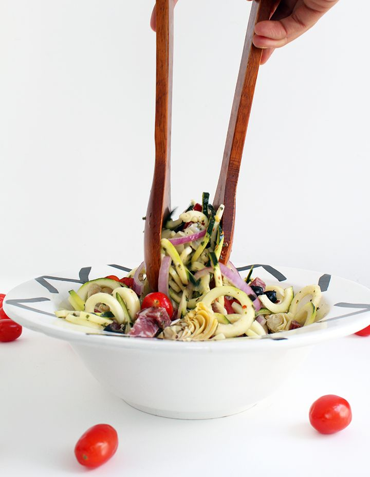 Italian Zucchini Pasta Salad  Good for Shapers on Phase II.  Eliminate cheese and olives for Phase I