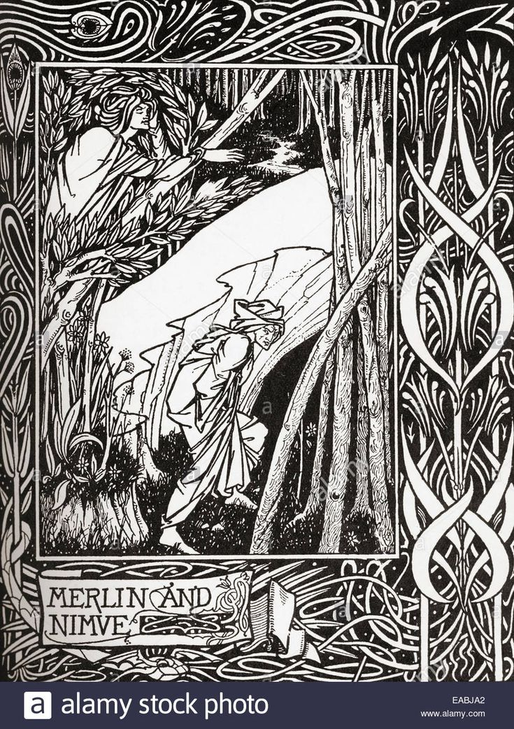 Page decoration by Aubrey Beardsley from The Morte D'Arthur by Sir Thomas Malory.  Aubrey Vincent Beardsley, 1872 –1898. Stock Photo