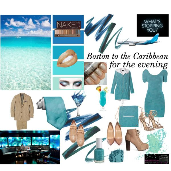 """Boston to the Caribbean for the evening"" by Khoncepts Sint Maarten blue Bodycon dress with matching jacket wearing neutral tone ankle boots or heels."