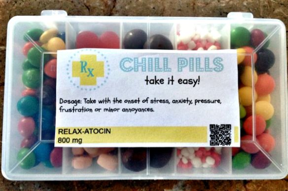 chill pills printable, also a printable for HAPPY PILLS. Great way too use up all the candy in our house!