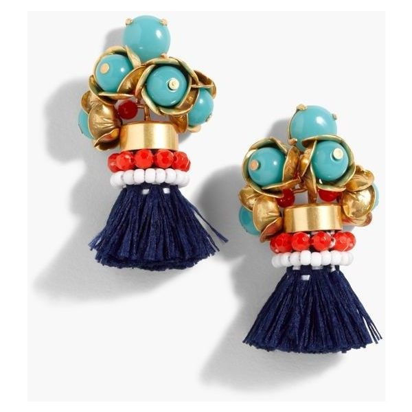 J.Crew Fun Tassel Earrings (€59) ❤ liked on Polyvore featuring jewelry, earrings, fringe tassel earrings, beading jewelry, tassel jewelry, beaded jewelry and j crew earrings