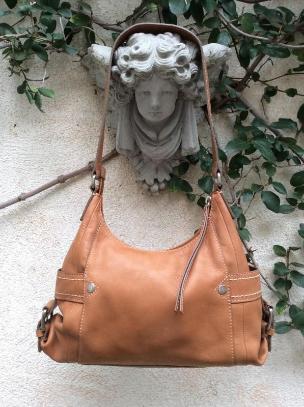 Fossil Tan Nubuck Leather Boho Purse Handbag Satchel Hobo Bucket Shoulder Bag