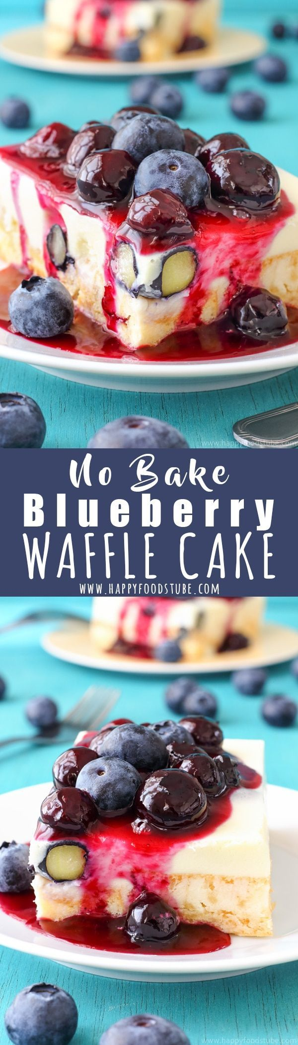 This White Chocolate Waffle Cake with Blueberries is our family favorite no bake dessert. Perfect homemade dessert recipe to satisfy your sweet tooth. Easy desserts to make at home without oven via @happyfoodstube