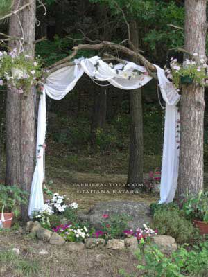 outdoor wedding...sticks & branches w/fabric arbor...faerie portal~