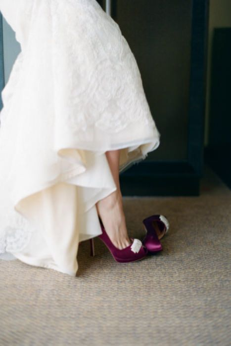 Highlight your individuality and personal style with brightly colored wedding shoes