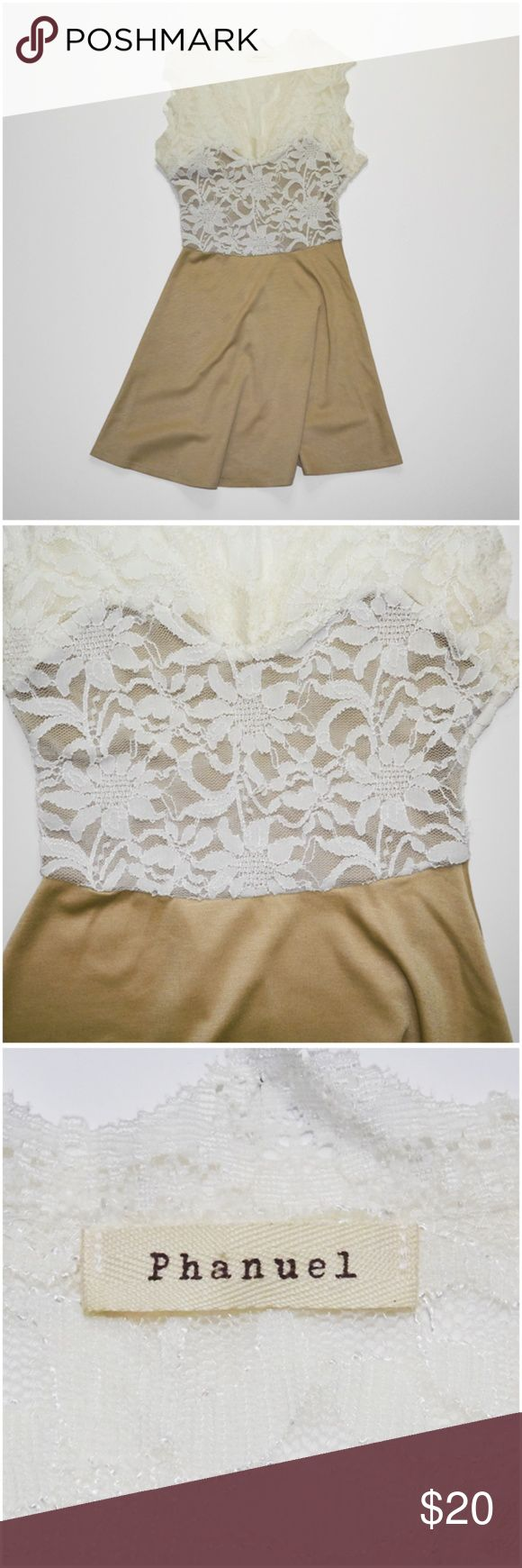 Phanuel Lace Dress This item is used. It's an ivory top lace dress with tan sweetheart neckline underneath and tan skirt.  ** Details ** - Small - Ivory | Tan - Lace | Sweetheart Neckline - Sleeveless - 55% Polyester | 40% Nylon | 5% Spandex Phanuel Dresses