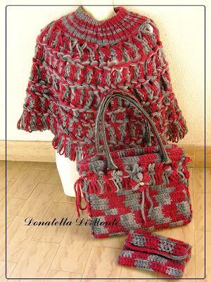 LE CREAZIONI DI DONY: borsa poncho e portamonete in lana rosso e grigio