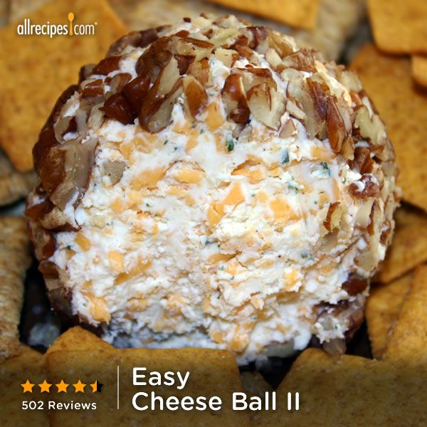 "This Easy Cheese Ball calls for just cream cheese, Cheddar, ranch dressing, and pecans. ""Like"" if cheese balls are the life of the party. http://allrecipes.com/recipe/Easy-Cheese-Ball-II/Detail.aspx?lnkid=7171"