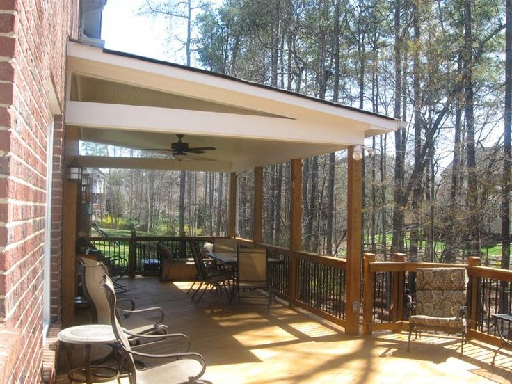 Covered Deck Design:wonderful Charlotte Covered Wood Deck With Metal Pickets