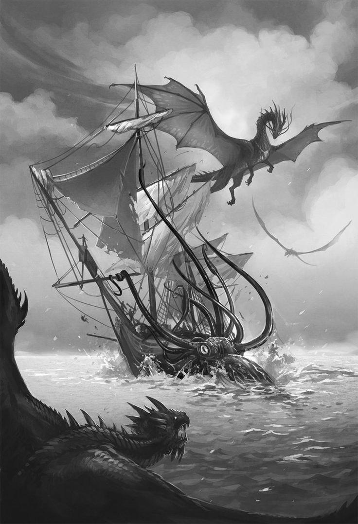 Temeraire and gang VS kraken by *sandara on deviantART