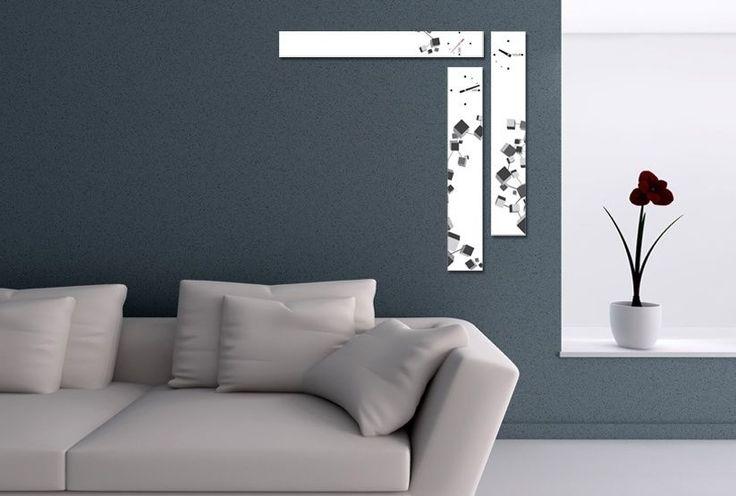 Interior Wall Clock Cube Home Decor, Modern Luxury 3pcs Framed Wall Art   #LEMONART #ArtDeco