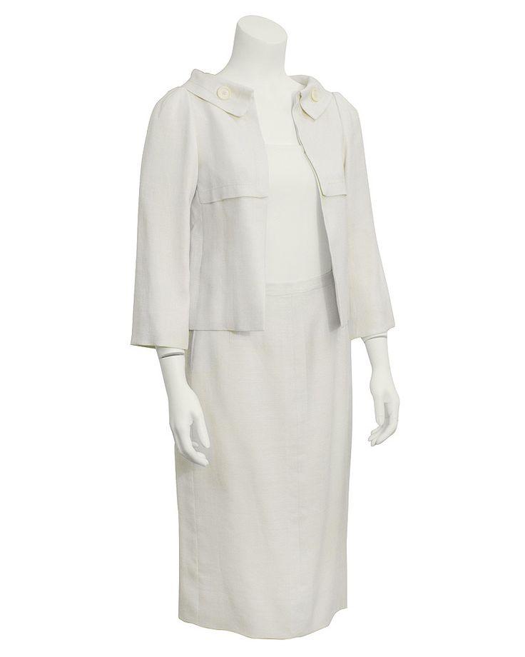 Cream Linen Couture Skirt Suit