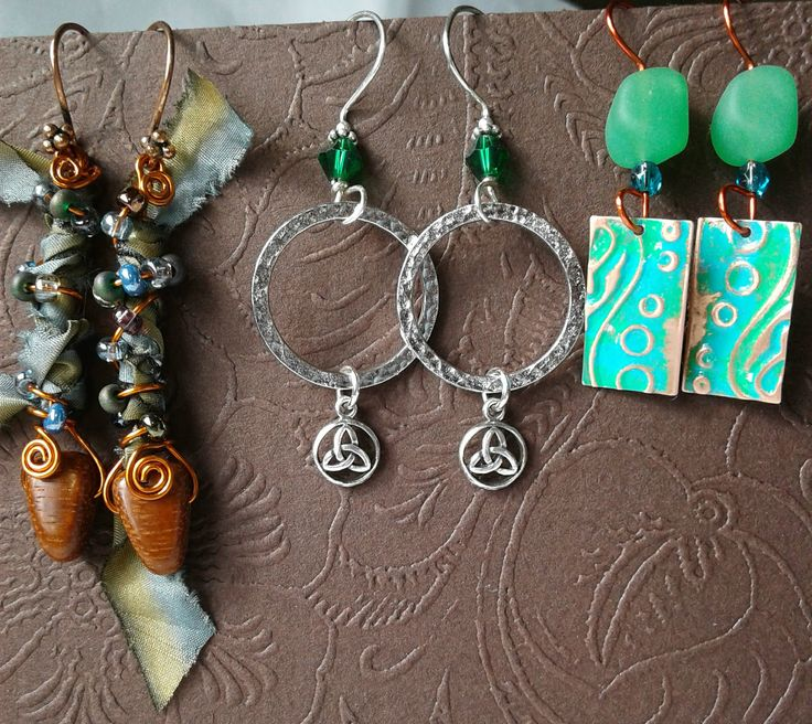 3 pair of earrings/hoarders edition using Christine Stonefields components (some in each).