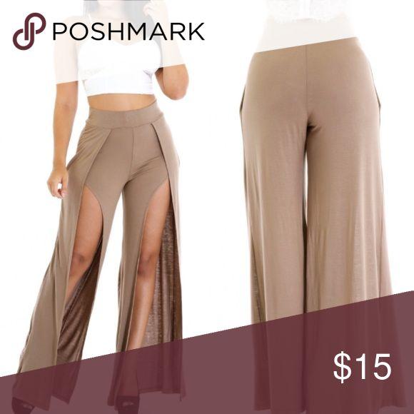 Open front pants High slit pants Pants Wide Leg