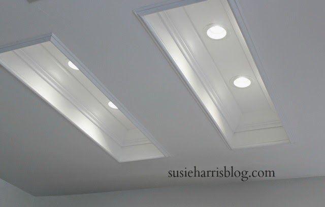 Susie Harris: Replacing Fluorescent Lighting ~ FANTASTIC IDEA for replacing that fluorescent lights in the kitchen!!