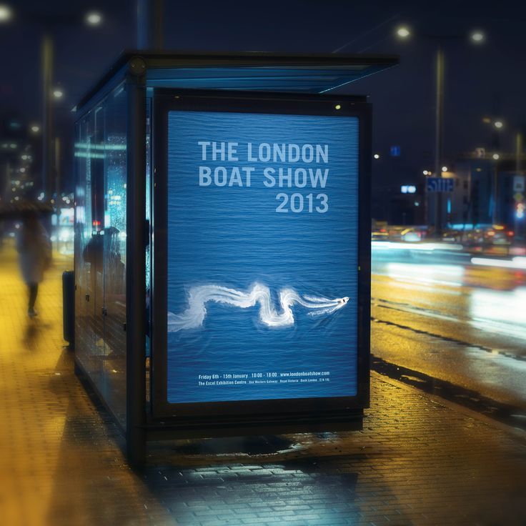 The London Boat Show. London. Poster. Advertising. Designed by White is Black.
