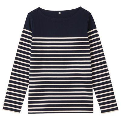オーガニックコットン太番手パネルボーダー長袖Tシャツ 婦人L・ネイビー×ボーダー   無印良品ネットストア¥3,480