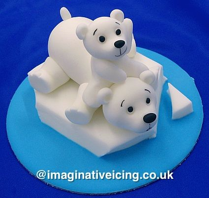 polar bear cub & mother bear - cake topper