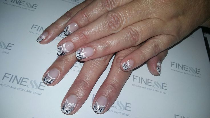 French nails with black and white art