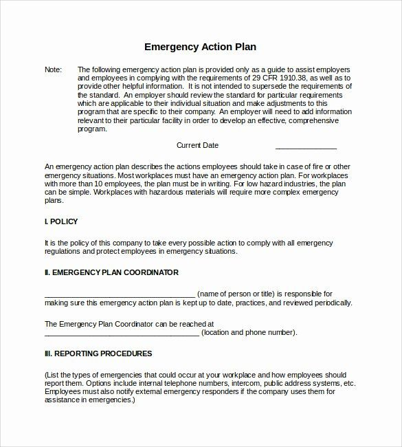 Incident Action Plan Template Luxury Sample Emergency Action Plan