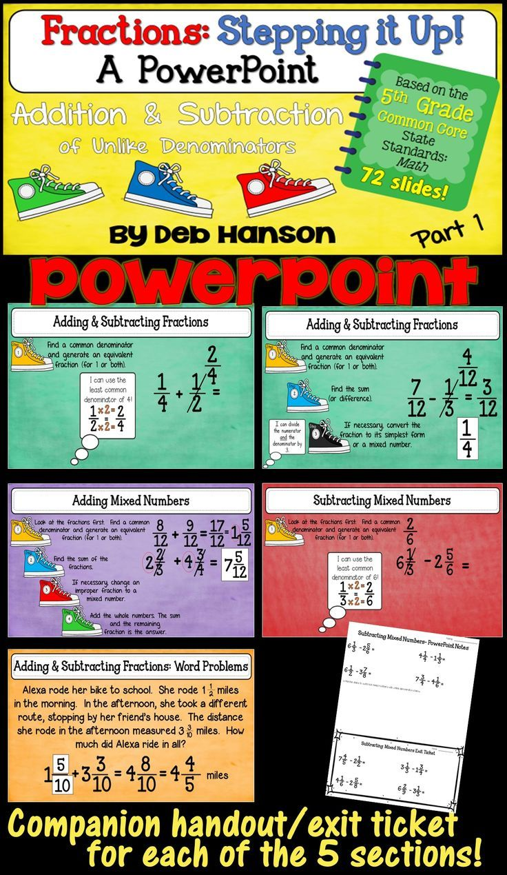 5th Grade Fractions Powerpoint! Perfect For Teaching Students How To Add  And Subtraction Fractions And